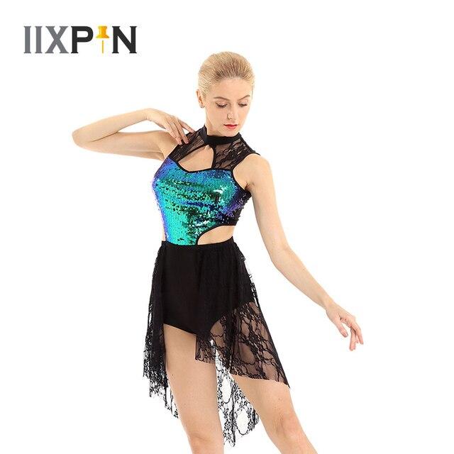 מבריק פאייטים בלט שמלת מחוך ללא שרוולים אסימטרית תחרה גבוהה נמוך בלט ריקוד שמלת לירי מודרני עכשווי תלבושות