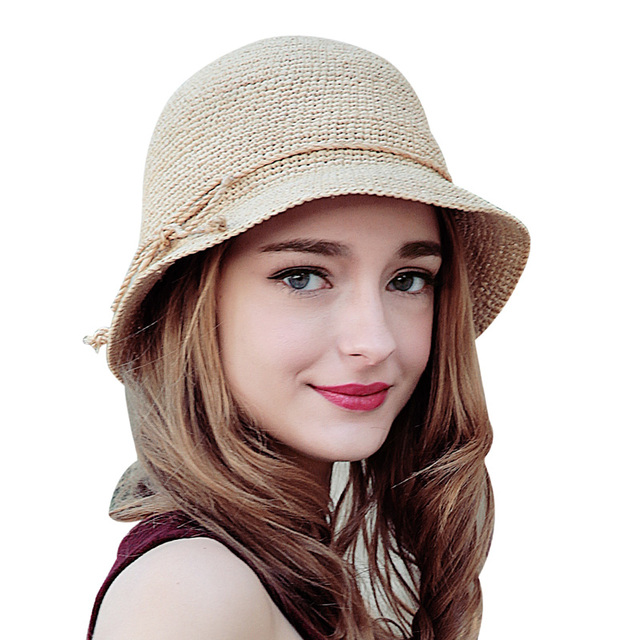 Мода женщины флоппи рафии соломенная шляпа летом шляпы для дам складная солнце пляж крышка SW105110