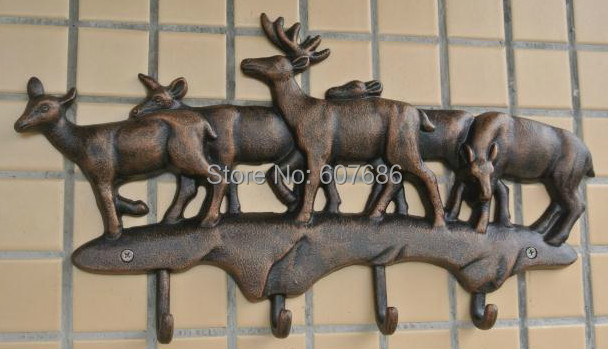 Cast Iron Deer Hooks Antique Metal Hat Coat Clothes Rack Hanger Rural Hanging Wall Mounted Home Decorations EMS Free Shipping mist forest deer wall hanging tapestry
