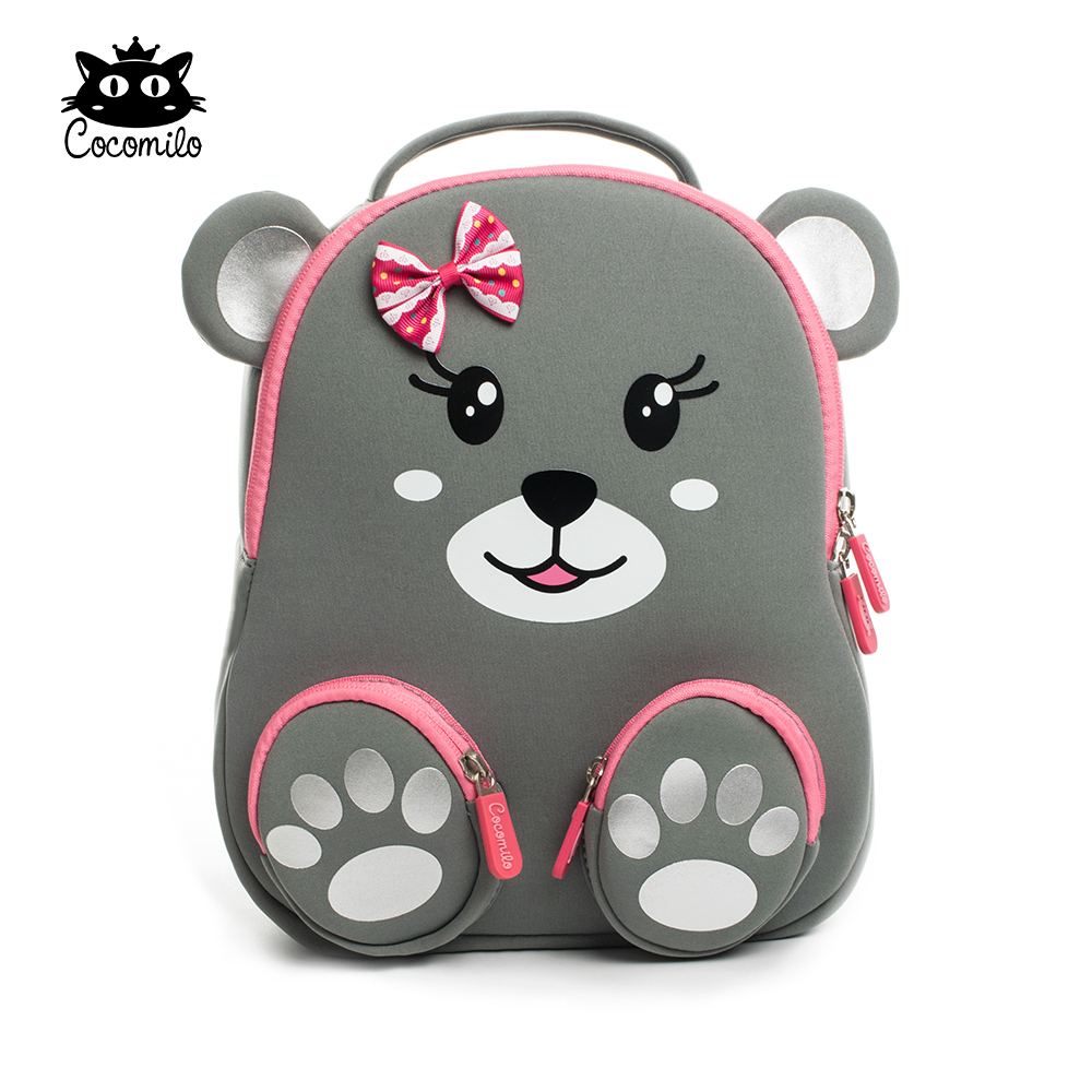 Orthodetic Cute Grizzly Bear Bagpack Ultra-Light Kids & Baby Bag Wearable Bow School Bag Non-Polluting Girls Lovely Cat Bagpack