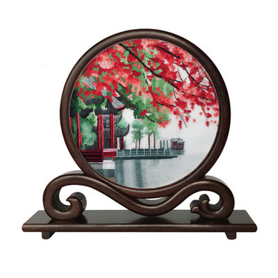 Hand double-side Suzhou Embroidery Wenge Frame Ornaments Chinese Small Screen Table Decoration Crafts Gifts