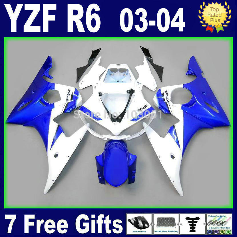 Custom motorcycle fairings set For Yamaha YZF R6 2003 2004 R YZF R6 03 04 05 plastics  blue white body repair fairing kits mfs motor motorcycle part front rear brake discs rotor for yamaha yzf r6 2003 2004 2005 yzfr6 03 04 05 gold