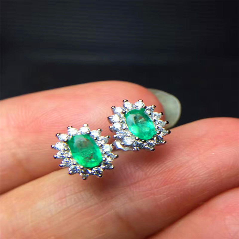 Vintage Emerald Stud Earrings 3 5mm Natural Silver Solid 925 Sterling Gift In From Jewelry