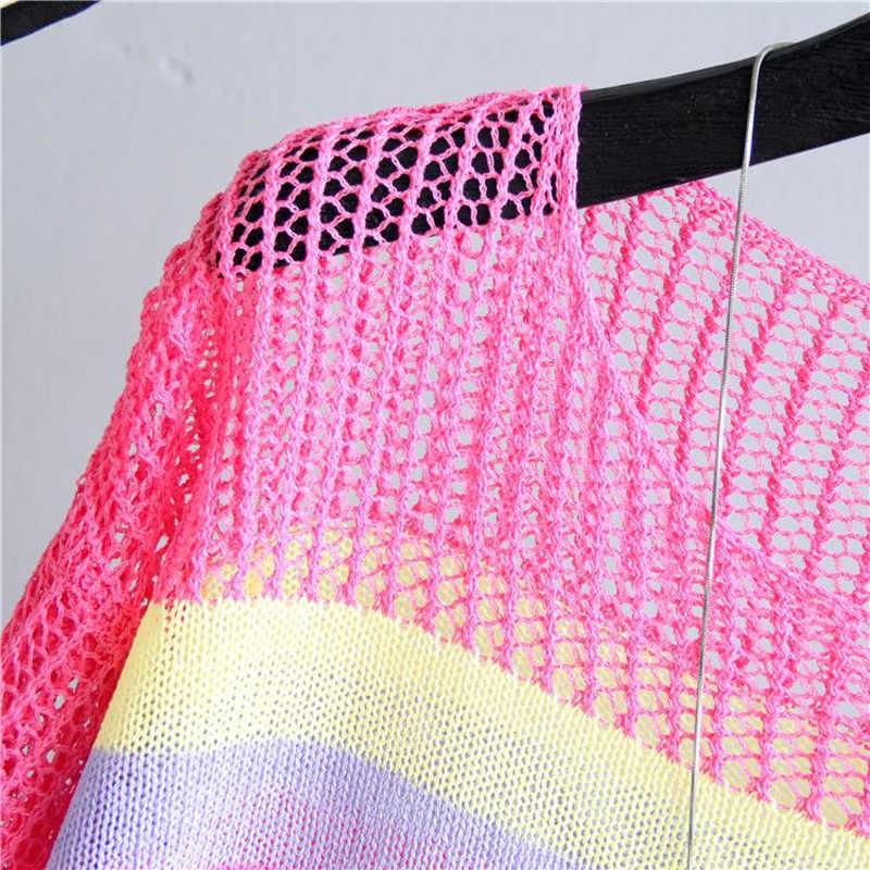 白春夏セクシーなセーターの女性ニットセータープルオーバー半袖中空アウト O ネック基本オフィス 2019