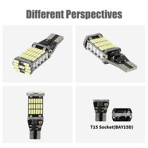 Image 5 - 2xlicense plate light lâmpadas led para carros t15 w16w 45 smd 4014 livre de erros led reverso carro volta lâmpadas 15 w 6000k branco