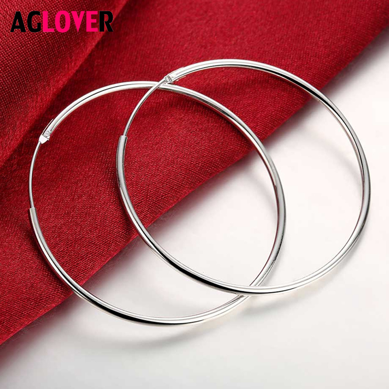 AGLOVER 925 Sterling Silver 50mm Big Smooth Round Earrings For Women Fashion Wedding Party Birthday Gift Jewelry
