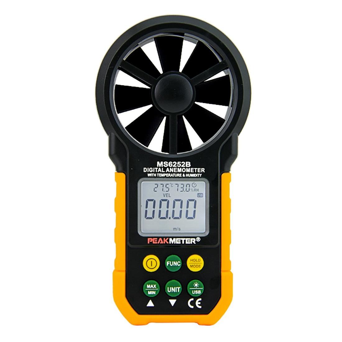 PEAKMETER MS6252B USB Digital Anemometer Air Flow Tester Meter peakmeter ms6252b digital anemometer air speed velocity air flow meter with air temperature humidity rh usb port