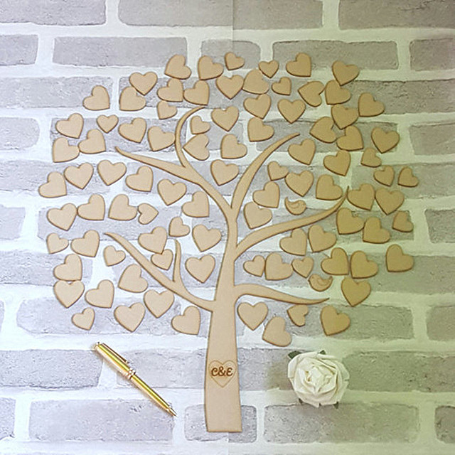 Personalized Custom Wooden Tree Of Hearts Alternative Wedding