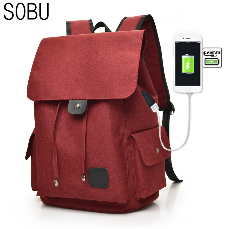 Fashion Canvas Backpack Anti Theft With Usb Charging Laptop Business Unisex Knapsack Shoulder Waterproof Women Travel Bag H047