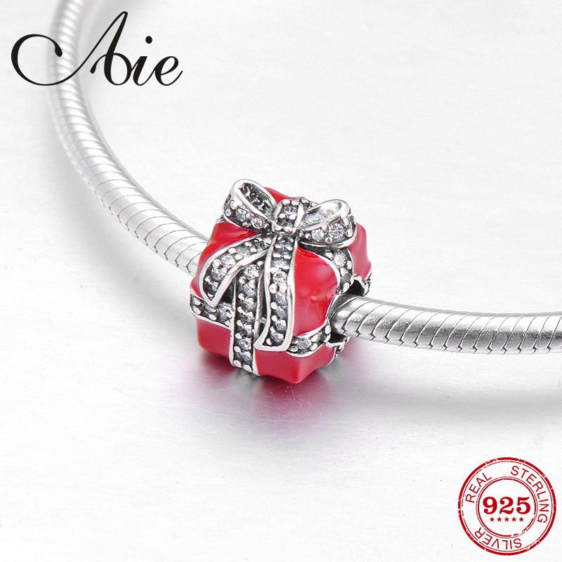 Bowknot Gift Box 925 Sterling Silver Fashion Red Enamel And Cz Fine Bead Fit Original Pandora Charm Bracelet Jewelry Making Beads Aliexpress