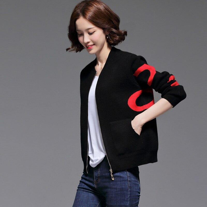 Vestes O Manteaux Noir Printemps Nouveau Court Tricoté Rouge Femmes Casual Outwear Automne Patchwork Noir Baseball Fp1574 rouge cou Femelle RI1qx8g