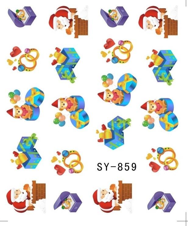 Image 5 - Блестящая водная наклейка для ногтей, наклейки для ногтей на Рождество, Рождество, Санта Клаус, олень, SY855 860-in Стикеры и наклейки from Красота и здоровье on AliExpress