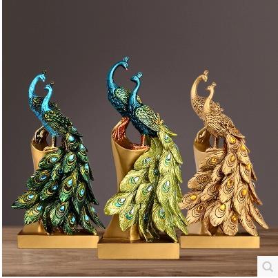 European style peacock sculpture crafts, creative wedding gifts, resin bird desktop decoration