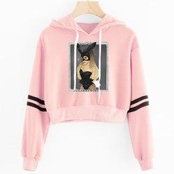 2019 Korean crop top hoodie Women Harajuku Kawaii Ariana Grande Hoodie clothes Female Pink Casual Hip Hop Hoodies Sweatshirts 6