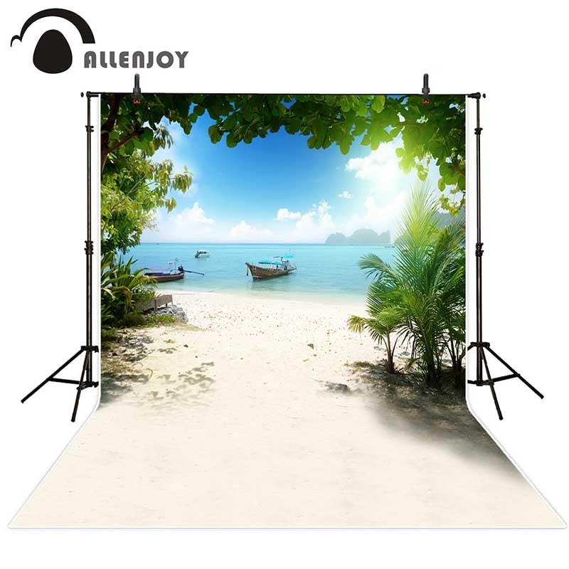 Allenjoy backdrops fotograafia mere rannas laeva puu taevas - Kaamera ja foto - Foto 1