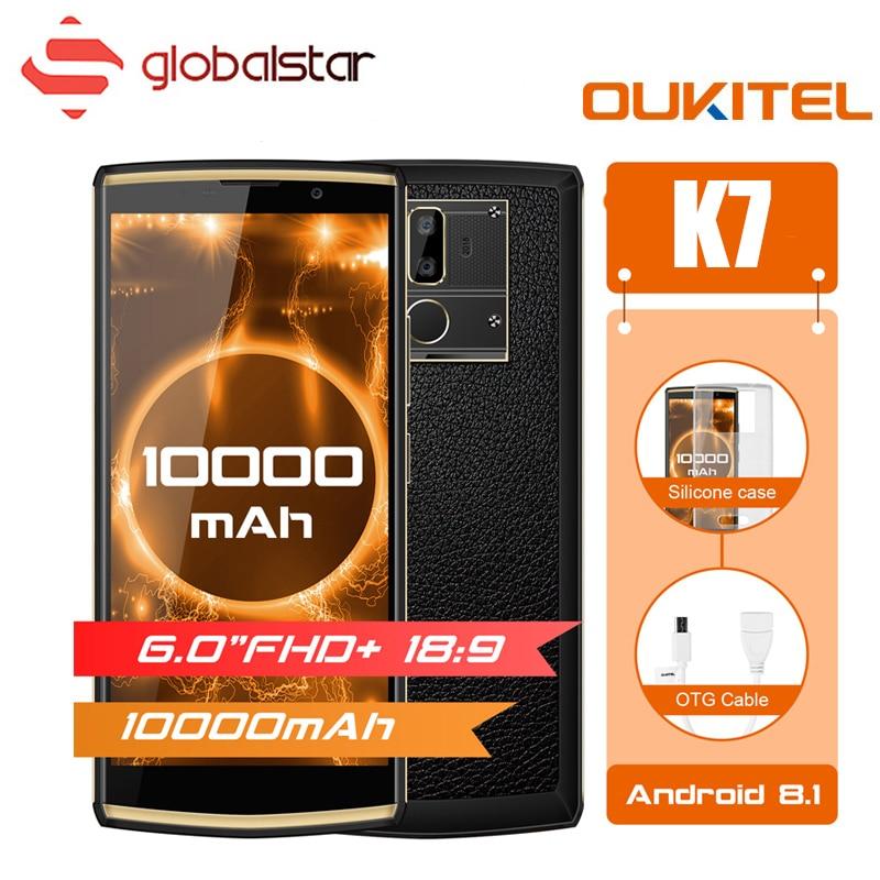 Oukitel K7 10000 mAh Grosse Batterie Smartphone MTK6750T Octa Core 6.0 pouces FHD + Affichage 4G RAM 64G ROM Android 8.1 OTG 4G Téléphone Portable