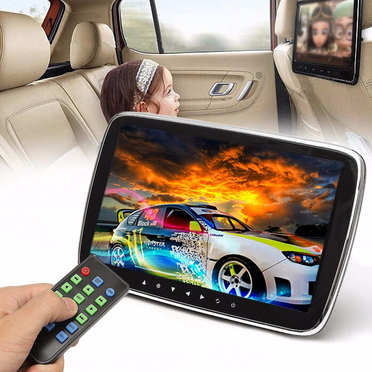 9 HD Car Headrest Monitor DVD MP5 Player USB/SD/HDMI/FM/Game TFT LCD Screen Touch Button Car Digital Video Radio Stereo ...