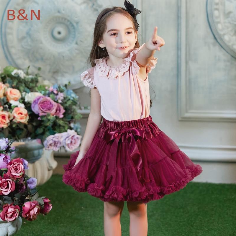 בואנוס נינוס אופנה חצאית חצאית בייבי בנות פלאפי שיפון pettiskirt עבור 1-10 Y