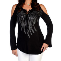 Jahurto Balck T Shirt Women Feather Printed Lace Up Cold Shoulder Tops Fashion Graphic Tees Women