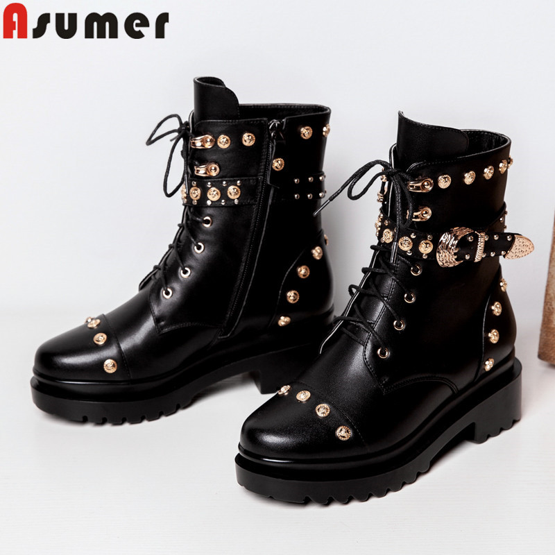 ASUMER 2019 new genuine leather boots women lace up rivet buckle square heels platform shoes women ankle bootsASUMER 2019 new genuine leather boots women lace up rivet buckle square heels platform shoes women ankle boots