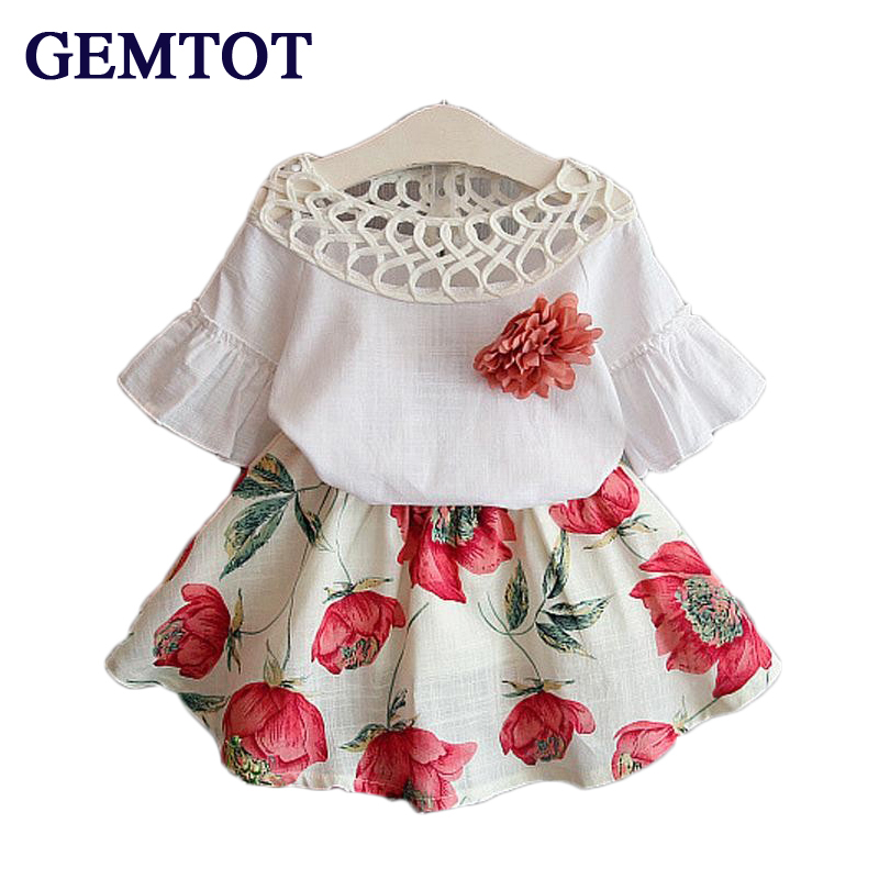 GEMTOT Girls Clothing Sets Kids Clithes 2017 Summer Fashion New Baby Wear Flower Tops + Dresses Children Simple Suits Clothes