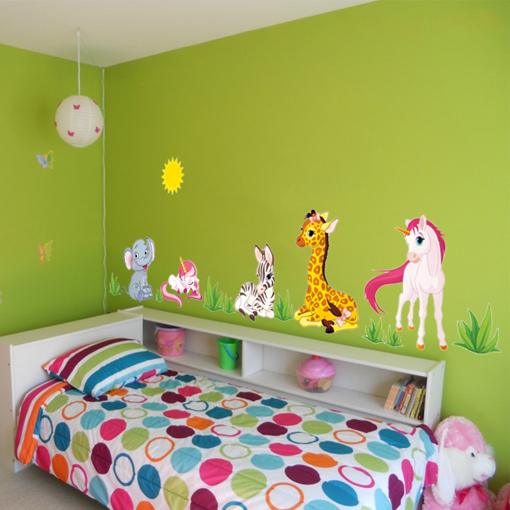 US $3 45 OFF Las zwierząt Cartoon naklejki ścienne dla dzieci pokoje przedszkole koń słoń X012 Home Decor DIY tapety sztuki w Naklejki ścienne od