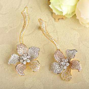 Dazz Big Flower Pendant Choker Necklace Dangle Earring Set Luxury Full Cubic Zirconia Pave Wedding Copper Jewelry Sets For Women