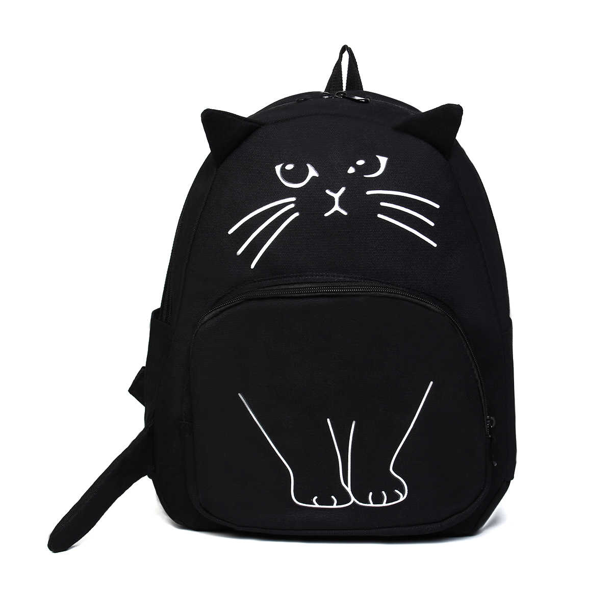 Osmond Women Cute Cat Backpack Black Canvas School Bag For Teenage Girls Schoolbag 3D Printing Backpack Travel Rucksack Mochila