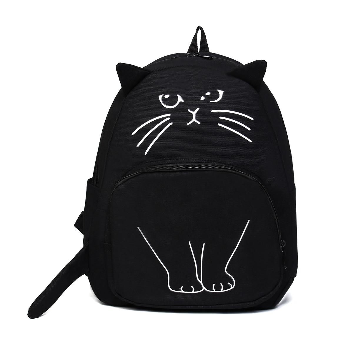 Osmond, Mochila de gato bonito, Mochila escolar de lona negra para adolescentes, Mochila con impresión 3D, Mochila de viaje, Mochila