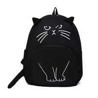 Osmond Women Cute Cat Backpack Black Canvas School Bag For Teenage Girls Schoolbag 3D Printing Backpack Travel Rucksack Mochila