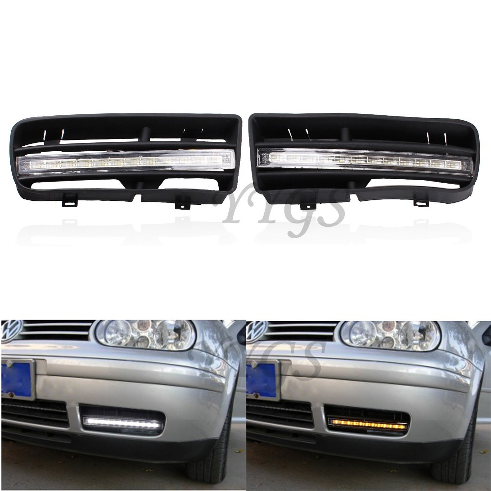 1 Pair Car Styling LED DRL Daytime Running Turn Signal Lights With Grilles For VW Golf