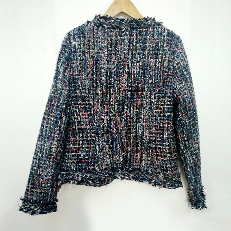 tweed jacket coat ladies autumn / winter new high end small fragrant wind beaded jacket a generation Woolen coat vestidos-in Jackets from Women's Clothing    3