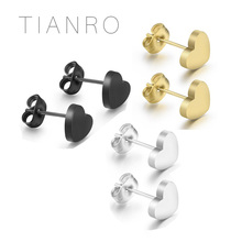 TIANRO Classic heart-shaped stainless steel earrings Three-color optional simple ladies Daily