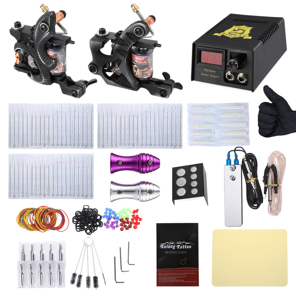 Solong Tattoo 2 Machine Gun Shader Liner Kit Power Supply 20 Needles Grip Tip professional tattoo kits liner and shader machines immortal ink needles sets power supply