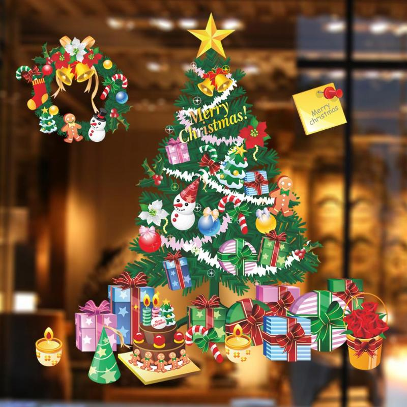 Colorful Christmas Tree Wall Stickers Showcase Windows Decals New Year Christmas Decoration Festival Party Supplies