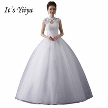 High Collar Vintage Wedding Dresses White Princess Crystal Bridal Frocks Real Photo Custom Made Vestidos De Novia Y1080