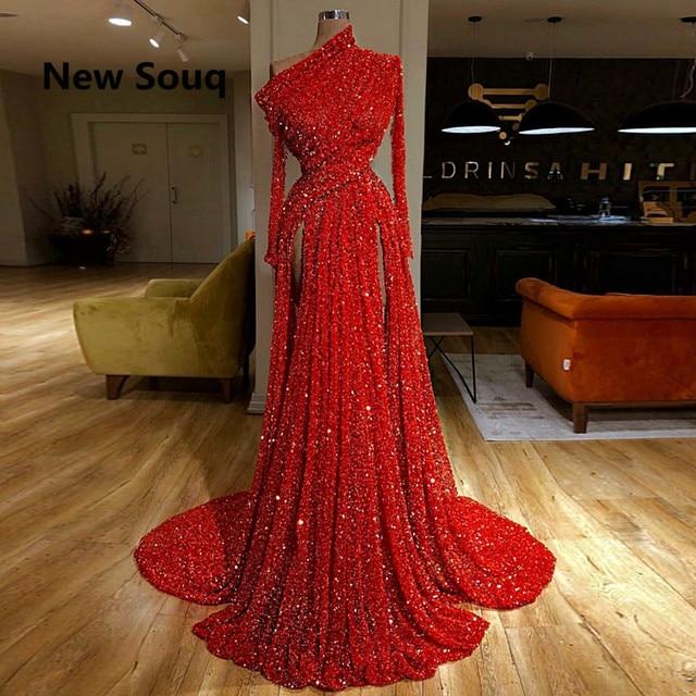 أحمر الترتر عالية انقسام فساتين لحضور الحفلات الموسيقية كتف واحد طويل الأكمام فساتين سهرة سويب قطار فستان حفلة موسيقية طويل Vestido De Fiesta