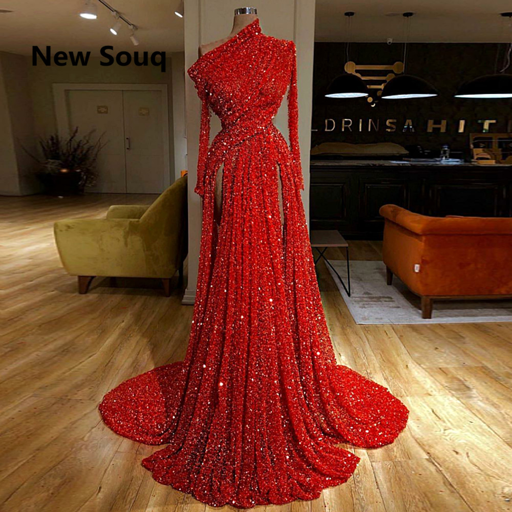 Red Sequins High Split   Prom     Dresses   One Shoulder Long Sleeves Evening Gowns Sweep Train Long   Prom     Dress   Vestido De Fiesta