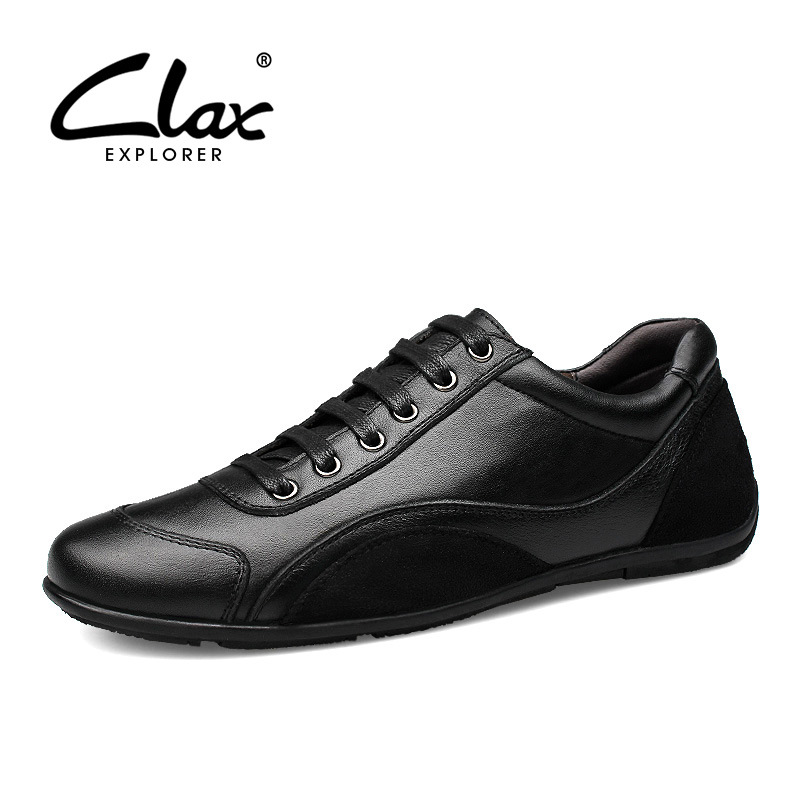 CLAX Men Shoes Fashion Spring Autumn Casual Flat Shoe Male Genuine Leather Footwear Black Dress Leisure Shoe Walking Shoe Soft mens s casual shoes genuine leather mens loafers for men comfort spring autumn 2017 new fashion man flat shoe breathable