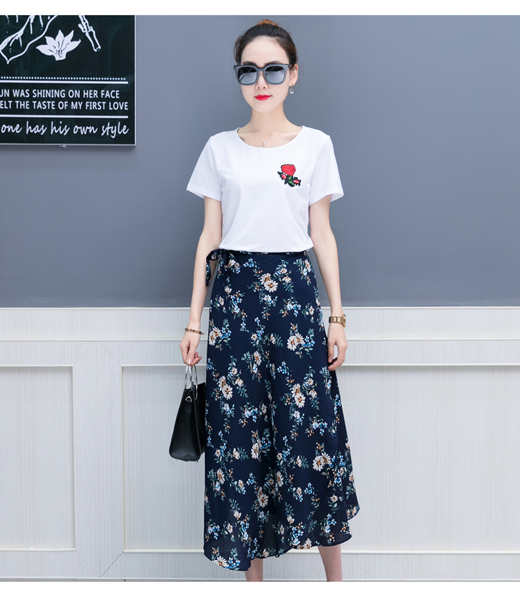 d4d50ec14f New summer 2018 wear women's clothes korean fashion white T chiffon skirt  two-piece floral skirts girl clothing set lady outfit