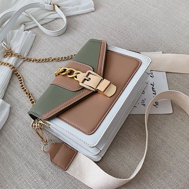 Contrast Color Leather Crossbody Bags  2