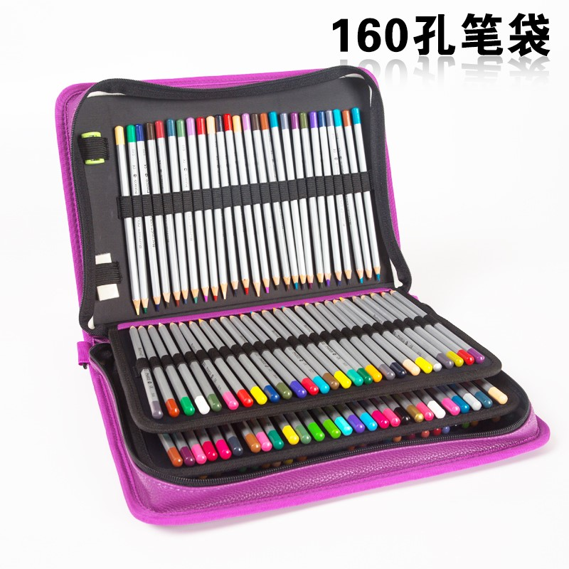 160 Hole Folding PU Leather School Pencils Case Large Capacity Portable Pencil Bag For Colored Pencil Gel Pen Case Art Supplies olike 150 slots pencil case canvas pencils case large capacity portable pencil bag for school colored gel pen bag art supplies