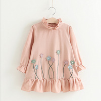 New Product Brand 2017 Autumn Girls Clothes For Girls Dresses Small Fresh Style Flower Design Long-sleeved Petals Dress 3-7Y