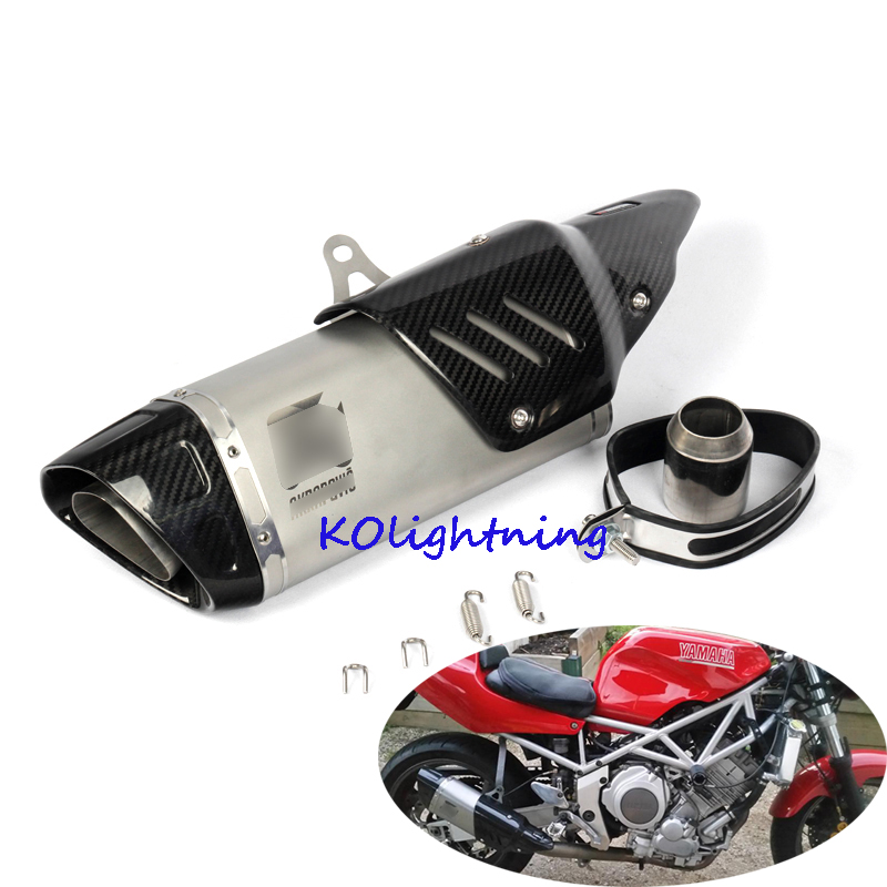 Universal 51mm Motorcycle Scootor Exhaust Pipe Muffler Escape with Carbon Fiber Cover For Yamaha R1 R3 R6 R25 YZF Z750 Z800
