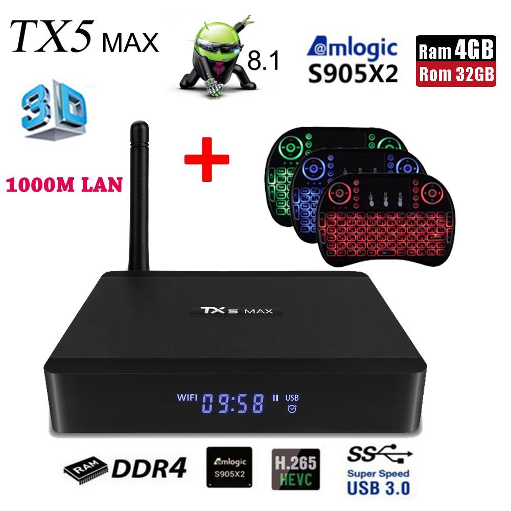 Set-top Boxen GemäßIgt Tanix Tx5 Max Android 8.1 Smart Tv Box Amlogic S905x2 4 Gb Ddr4 32 Gb Rom 2,4g 5g Wifi 1000 M Lan Bluetooth 4,2 4 K H.265 Player Box Top Wassermelonen