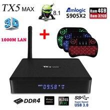 Tanix TX5 MAX Android 8,1 Smart ТВ Box Amlogic S905X2 4 Гб DDR4 32 Гб Встроенная память 2,4G 5G Wi-Fi 1000 M LAN Bluetooth 4,2 4 K H.265 телеприставка