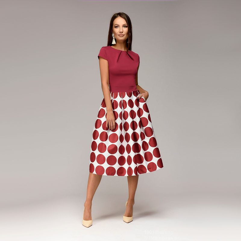 Women Vintage Dot Print A line Party Dress O Neck Short Sleeve Fold Elegant Mid Dress 2019 Autumn New Fashion Female Vestidos in Dresses from Women 39 s Clothing