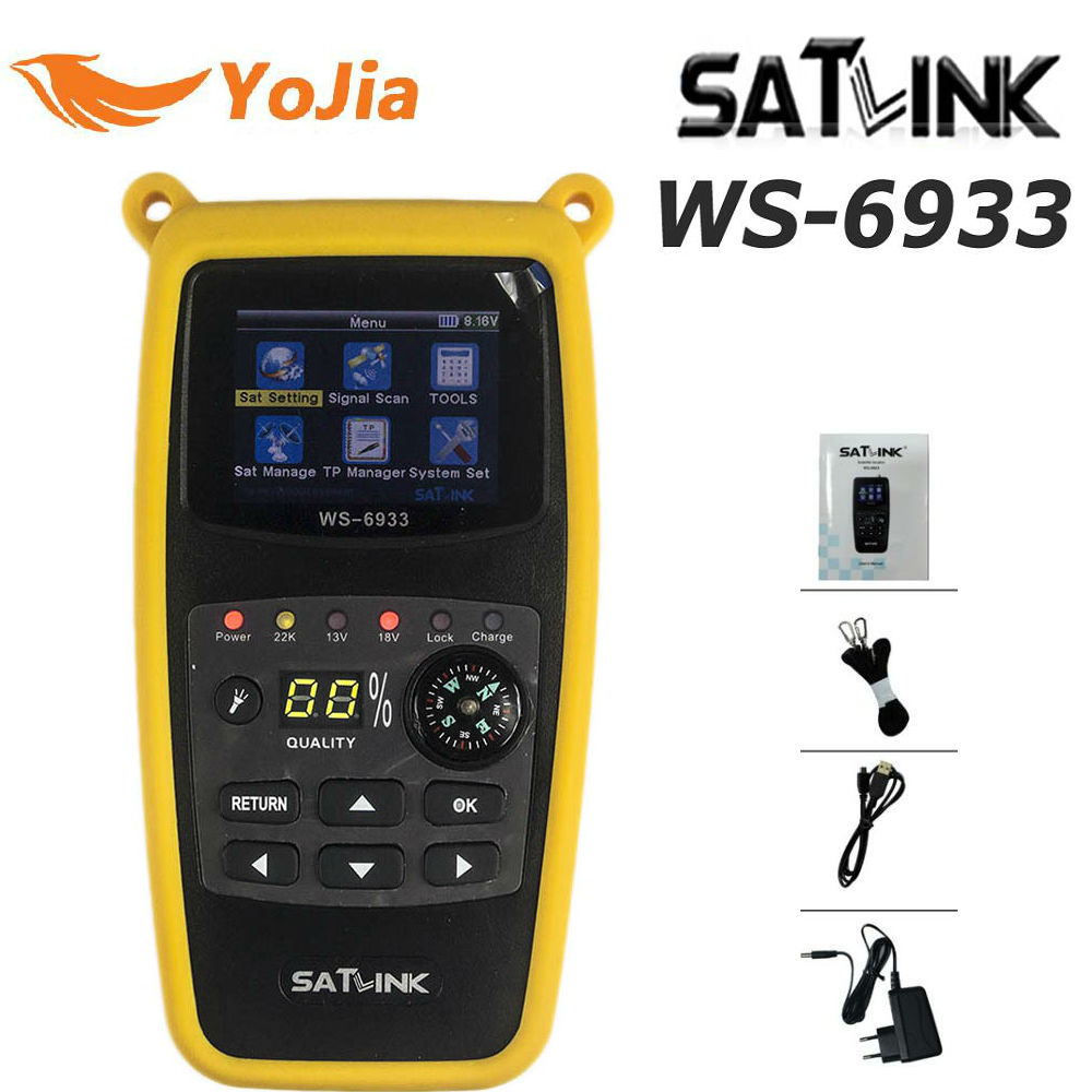 Yojia DVB-S2 Satlink WS-6933 Satellite Finder FTA C&KU Band Satlink WS 6933 Digital Satellite Meter Finder free shipping satlink ws 6979se satellite finder meter 4 3 inch display screen dvb s s2 dvb t2 mpeg4 hd combo ws6979 with big black bag
