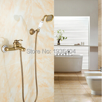 Luxury European Style Classic Antique Brass Wall Mounted Shower Sets Porcelain Handshower Wholesale Shower Mixer Taps