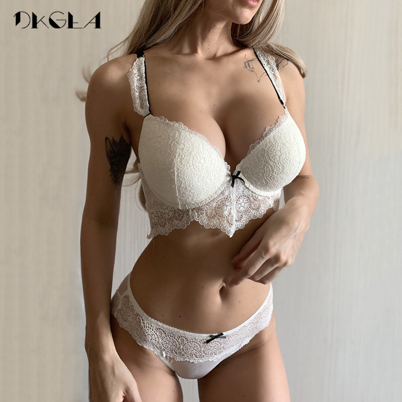 New White Sexy Bra Panties Set Lace Brassiere Deep V Push Up Bras Women Underwear Set Cotton Thick Black Lingerie Set Embroidery